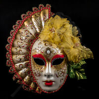 Venetian Mask: Italy. Lady with Fan (Red Color)