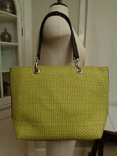 MAURIZIO TAIUTI lime green woven tote shopper made in Italy floral lining large