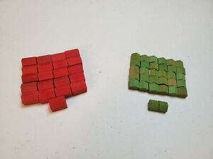 Pack of Six Used Monopoly Replacement Red Plastic Hotels