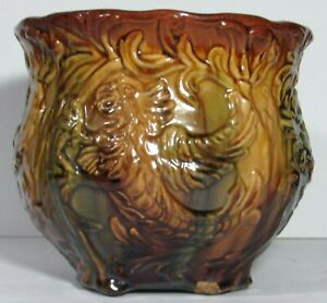 Large Cockatoo Cockatiel Bird Majolica Staffordshire Stoneware Jardiniere Vase