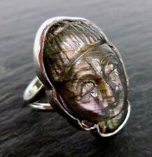 Buddha Ring Labradorit Heilstein 925 Sterlingsilber Handarbeit R664