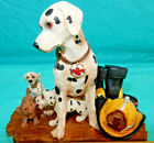 FIREFIGHTING FIGURINE, FLURRY FIREFIGHTERS, 3 DALMATIONS & A CAT, PLUS FD MAGNET