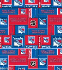 NEW YORK RANGERS NHL HOCKEY 100% COTTON FABRIC MATERIAL CRAFTS BY THE 1/2 YARD
