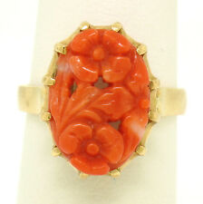 Vintage 18k Yellow Gold Open Flower Floral Carved Oval Pink Coral Solitaire Ring