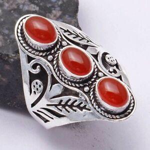 Carnelian Ethnic Handmade Three Stone Ring Jewelry US Size-11 AR 40095