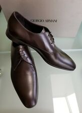 NEW GIORGIO ARMANI Mens Shoes Brown Leather Size 10 43 Pointy Oxford X2C036