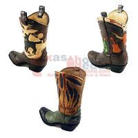 Western Cowboy Boot Flower Vase Rustic Country Utensil Holder Longhorn Cowboy
