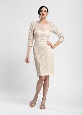 Sue Wong N4118 Blush Illusion Lace Embellished Cocktail Dress NWT Size 4 $545