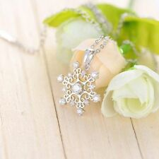 Crastal Nice Creative Silver Plated Women Snowflake Necklace Cubic Pendant
