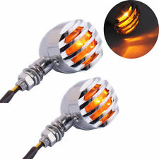2X Motorcycle Chrome Lamp Turn Signal Indicator Light Harley Chopper Bobber cafe