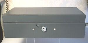 Vintage STEELMASTER Grey Metal Bond Box No Key 10x4.75x3