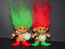 "2 Troll Dolls 3"" Russ Christmas Santa's Merry Little Elf Red & Green Hair w/tag"