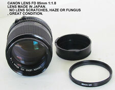 Vintage CANON LENS FD 85mm 1:1.8  No.77407 GREAT CONDITION!!!!!!!!