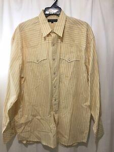Roper Men's XL Tall Button Down Long Sleeve Shirt Men's Yellow Stripe Western