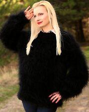 SUPERTANYA black hand knit mohair sweater fuzzy handmade pullover fluffy jumper