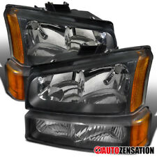 Chevy 03-07 Silverado 02-06 Avalanche Crystal Black Headlights+Bumper Lamps