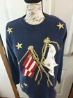 Vintage 90's Alfred Dunner Patriotic Sweater Sz Petite Small Flag Stars Blue