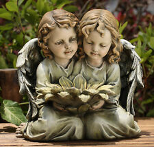 Kneeling Twin Angels Child Cherub w/ Sunflower Statue Home Garden Yard Art Decor