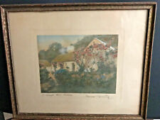 "Wallace Nutting ""A Lough Gill Cottage"" 14 x 17 hand colored photo signed framed"