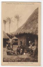 Village Life People Hut Abidjan Cote d'Ivoire Ivory Coast postcard