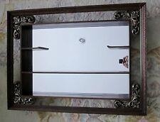 Vintage Turner Mid Century Wall Curio Mirror Shelf Carved Trim