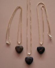 NEW BLUE SODALITE HEALING CRYSTAL GEMSTONE HEART 925 STERLING SILVER NECKLACE