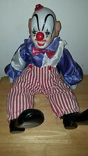 "Creepy clown doll with music box, plays ""Bring in the Clowns"" porcelain 20"""