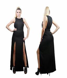 Maxi Dress Bodycon Crew Neck High Thigh Split Open Back For Women