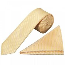 Gold Diamond Neat Skinny Men's Tie and Pocket Square Set Slim Tie Thin Tie