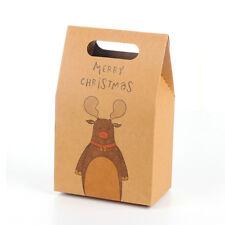 Christmas Kraft Paper Xmas Party Cookies Candy Present Gift Bag Elegant Bags Elk 10pcs