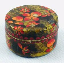 Vintage Asian Cloisonné Orange Red Orchid Floral Design Trinket Box Brass Enamel