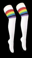 Referee Socks white Rainbow Stripes Ladies Women Thigh High Over The Knee.