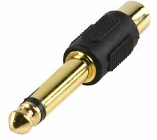 Gold RCA Phono to 6.35mm Jack Adaptor RCA Female - 6.35 Male