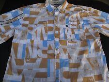 Phat Farm Mens Button Front Short Sleeve Cotton Logo Shirt 2XL XX XXL