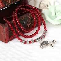 Red Women's Multilayer Bracelet Charm Retro Agate Beaded Health Prosperity Gift