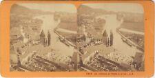 Suisse Thun e la Lac Foto J. Andrieu Stereo Vintage Albumina ca 1868