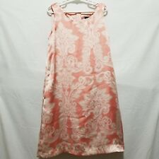 Gap Girls Dress M 8 Pink Satin Damask Print Shift Dress Pockets Easter