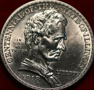 Uncirculated 1918 Centennial Of Illinois Lincoln Silver Comm Half Dollar