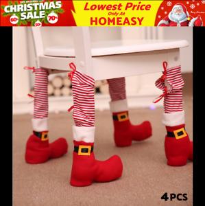 4× Christmas Chair Table Leg Decoration Shoes Feet Boots Cover Dinner Santa Xmas