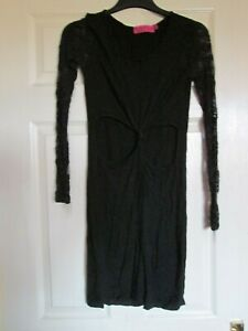 BOOHOO LADIES BLACK LACE LONG-SLEEVE EVENING DRESS SIZE 14 CUT-OUT PARTY FROCK