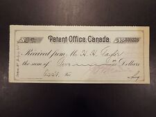 Patent Office, Canada Check Receipt 1920