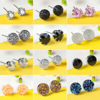12Pairs Women's Fashion Earrings Cute Ear Stud Crystal Rhinestones Jewelry Gifts
