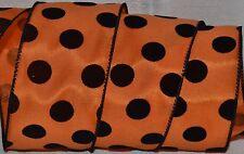 "Wired Ribbon~Fall Orange~Black Dot~Spot~Halloween~2.5""~Autumn~Wreath~Gift~Bow"