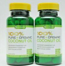 2-Pack Frais Organique Certifié Huile Noix de Coco 60 Doux Gels FDA
