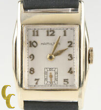 Vintage Hamilton Men's 10k Gold-Filled Wrist Watch with New Black Leather Band
