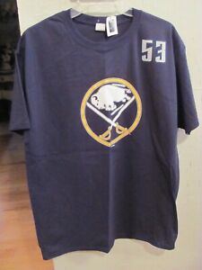 NWT MENS SIZE LARGE NHL BUFFALO SABRES SKINNER 53 BLUE SHORT SLEEVE SHIRT NEW