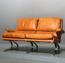 COR Swing 2-Sitzer-Sofa, Leder Schwingsessel, Couch Loveseat Cognac Vintage