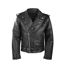 BLACK MOTORCYCLE MOTORBIKER SALE PERFECT CLASSIC LEATHER JACKET BARGAIN TO CLEAR