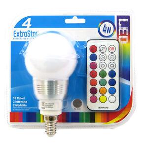 1x Light Bulb E14 LED Chromotherapy 16 Colors RGB 4W+ Remote Control ExtraStar