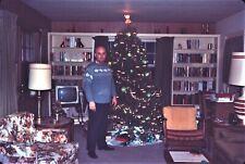 Man Christmas Tree Living Room Presents 1966 60s Vintage 35mm Ektachrome Slide